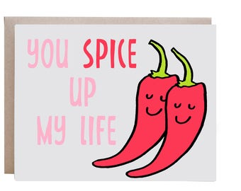 Love Card, Couples Card, Valentines Day Card, Anniversary Card, Hot Pepper, Pun Card