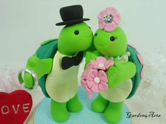 turtle wedding cake toppers custom wedding cake topperlove turtle with sweet 21320