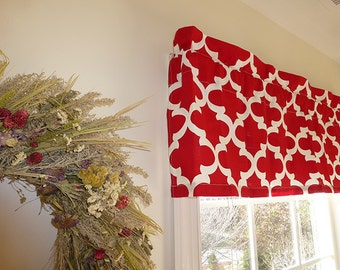 Made to Order Window Curtains, Red Window Valance - Window Valance - 52 x 16 Valance - Window Treatment - Fynn Red Window Valance