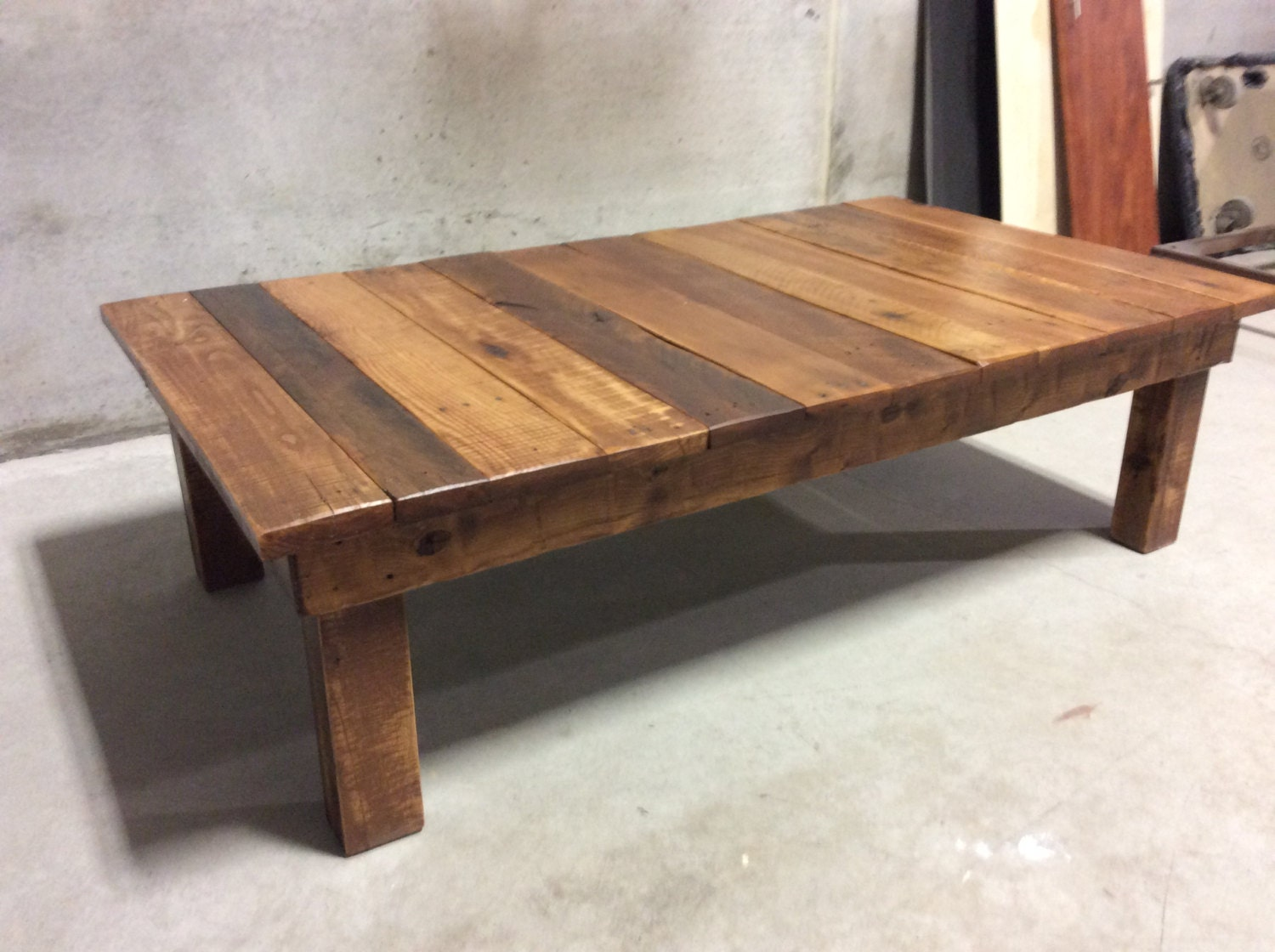 Large reclaimed wood coffee table for Reclaimed wood table designs