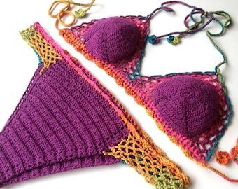 Crochet Bikini Top Bikini Bottom Women Swimwear Swimsuit Summer Beach Wear Bathingsuit Festival Clothing Gifts For Her  by senoaccessory