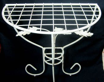 Plant Stand Small White Metal Half Moon Fern Apartment Size Home Decor