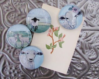 Sheep Magnet Set of Four - Farmhouse Decor - Original Art - Handcrafted Glass Magnet - Rare Earth Magnet -  Gift for Her - Gift for Friend