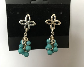Hanging Silver and Teal Earrings