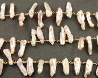 Pearl Wire wrapped Rosary Chain/ Pearl Fancy Beaded chain, 5x9 mm approx, Gold Vermeil, Sold By the Foot., (GMC-PRL-105)