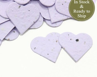 Orchid (Light Purple) Plantable Seed Paper Confetti Hearts - READY-TO-SHIP - Wedding Favors, Bridal Shower Favors, Baby Shower Favors