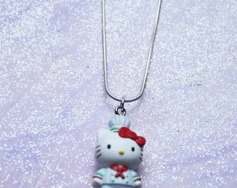 Handmade Silver 925 neckless Sailor kitty with red bow. So Kawaii