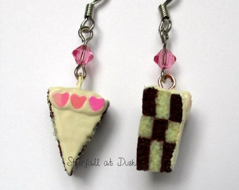 Checkerboard Cake Earrings - Vanilla Frosting and Pink Hearts