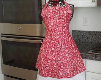 Red and white snowflake apron!