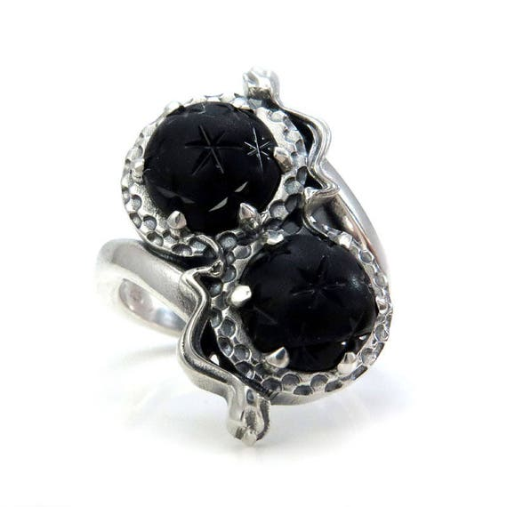 Gothic Toi et Moi Mourning Jewelry - Antique 1800's Victorian Glass Star Orbs - Sterling Silver Snake Ring