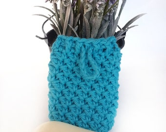 Soap Saver Sack, Cotton Soap Holder, Soap Pouch with Drawstring, Reusable Eco Friendly Soap Pocket, Turquoise