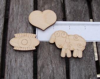 I love you, eye, heart, ewe, sheep, magnets, gift for her, wood, engraved, Valentine, love, cute gift, USA