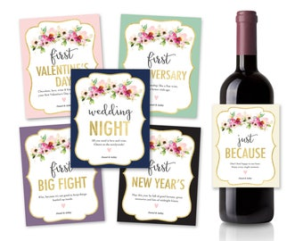 Wedding Wine Label Gift Set of 6 | Marriage Moments, Marriage Milestone, Wine Labels