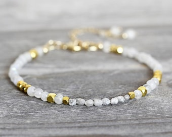 Skinny White Diamond Bracelet - Dainty Moonstone Bracelet - Skinny Bracelet for Women - Rough Diamond Bracelet - White Bracelet