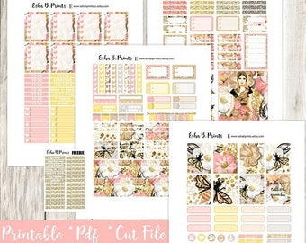 QUEEN BEE Printable Planner Stickers/Weekly Kit/For Use with Erin Condren/Cutfiles Spring May  Queen Bumble  Glam Fashion Designer TN
