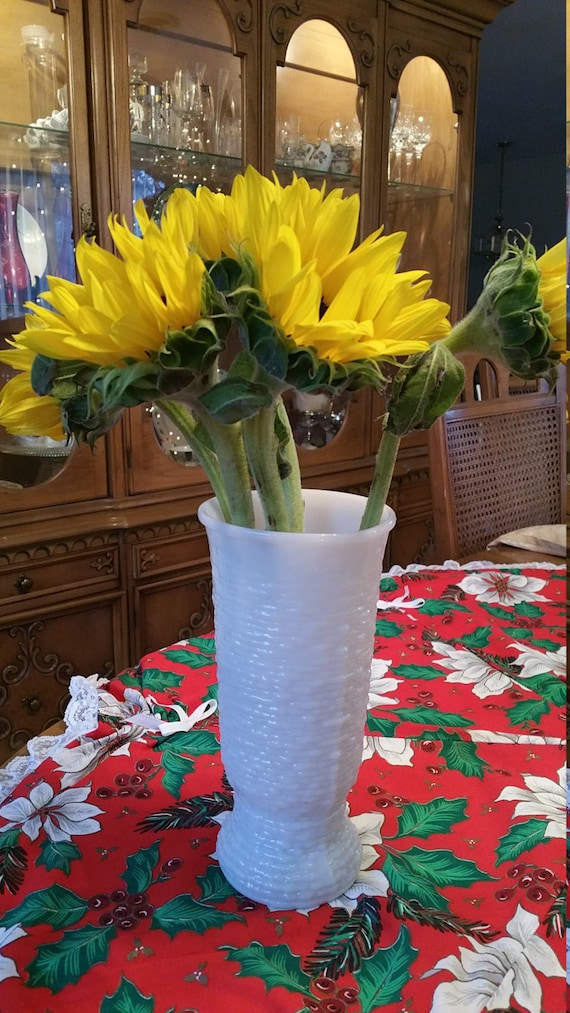 Vintage Tall Bark Texture Milk Glass Vase Napco 1168