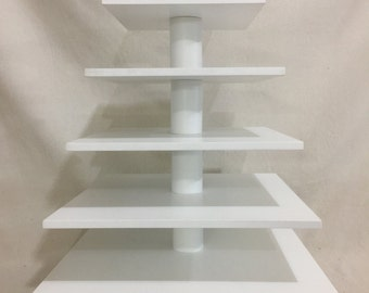 "6 Tier Square Custom Made Cupcake Stand. 1/2"" Thick Tiers with Elevated Base.  Holds up to 148 Cupcakes."