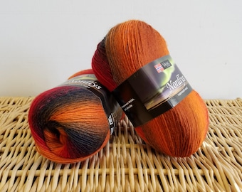 Self Striping Sock Yarn, Wool Superwash, Washable Sock Yarn, Nordlys by Viking of Norway, Sunset Fire 955