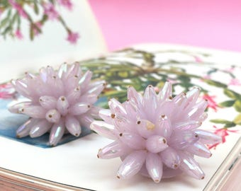 Vintage Soft Pink Cluster Clip-On Earrings
