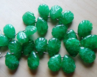 Green Onyx carved briolette