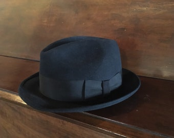 Stetson Fedora Hat - Royal Stetson 7 1/8 Size 57 -  Wool Felt Stetson Classic Black Fedora Costume Theater Gangster Hat - Amish Black Hat