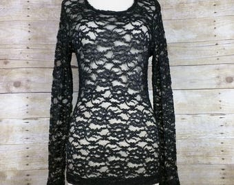 Vintage Top Black Lace Long Sleeve Womens S M 90s The Limited