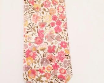 Coral Wedding Tie, Liberty of London Print Tie, floral mens tie, skinny tie, custom wedding necktie, floral bow tie, coral tie, blush tie