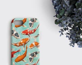 Koi Fishes Phone Case Japanese Koi Fish iPhone Case Koi Pond Gifts - Samsung Galaxy S8 Case iPhone 7 Plus Case iPhone X Case iPhone 6S Case