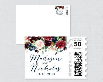 Navy and Marsala Floral Wedding Postage Stamps Design - Rustic Flower Wedding Stamp Design - Personalized Wedding Stamp for Invitations 0010