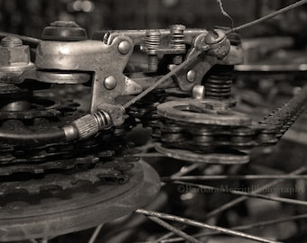 Black and white sepia toned photograph of antique bicycle.  Gears and chains are beautiful!