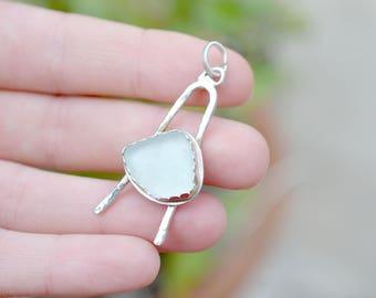 Sterling Silver Handmade Sea Glass Pendant, Sea Glass Jewelry, Sea Glass Necklace, Beach Glass Jewelry, Beach Glass Pendant, Beach Jewelry