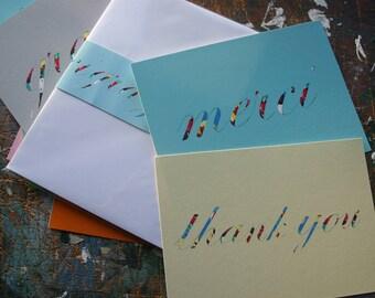 Thank You Postcards Vintage Typography  Set of Six Merci Grazie Thank you