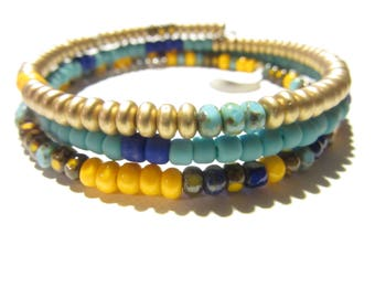 Triple wrap, memory wire, turquoise, yellow, blue and gold glass and seed bead Bracelet