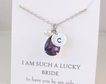 Purple Amethyst Bridesmaid Vintage Stone,Vintage Necklace,Vintage Amethyst,Vintage Rhinestone,Initial Necklace,Purple Necklace,Monogram