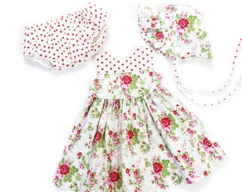 6 to 9 month baby dress infant outfit infant set baby bonnet baby outfit infant dress pink floral dress pink dress baby shower new baby