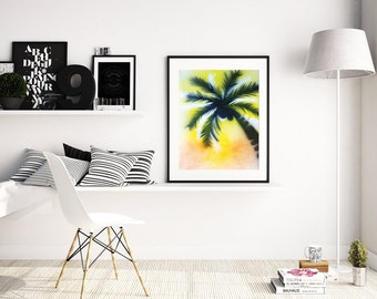 Stencil Art Print, Palm Tree Art, Spray Paint Art, Tropical Wall Art, Palm Art Print, Beach Decor, Summer Art Poster, A4 A3 size