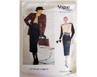 Vogue Paris Original 1468 Emanuel Ungaro Asymmetrical Collar Closing Blouse Shirt. Jacket and Skirt Sewing Pattern Size UK 12 Bust 34""