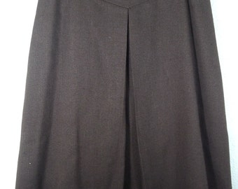 """Vintage 60's 70's Women's A Line Long Skirt Pleated Brown Wool Fully Lined 26"""""""
