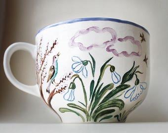 Oversized Spring Ceramic Soup Mug, hand painted pottery, majolica soup mug handled, soup bowl handled, pottery cup hand painted