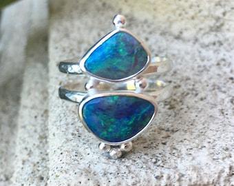 Double Stone Statement Ring set with Two Lightning Ridge Australian Opals