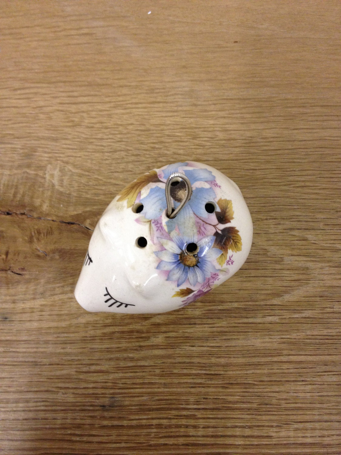 Pretty Little Pig Pomander With Cute Eyelashes Floral Detail