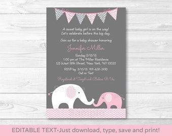 Pink Elephant Baby Shower Invitation / Elephant Baby Shower / Chevron Pattern / Pink & Grey / Baby Girl / INSTANT DOWNLOAD Editable PDF A203