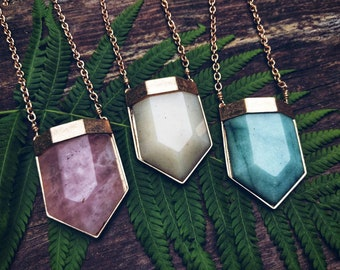 Chunky gold  gemstone pendants