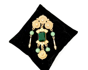 Victorian Revival Dangle Brooch, Large Green Emerald Cut Glass Center Stone, Soft Green Bead Dangles, Ornate Matte Gold Tone, Gift for Her
