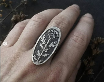 Milk Thistle Cameo Ring  - handmade out of copper in my Austin Tx Studio - by Jamie Spinello