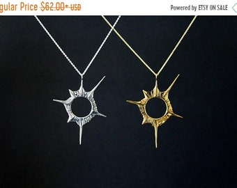 ON SALE Solar eclipse, the original, anniversary necklace, Star, sci-fi universe, shining star, fine jewelry, sterling silver handmade summe