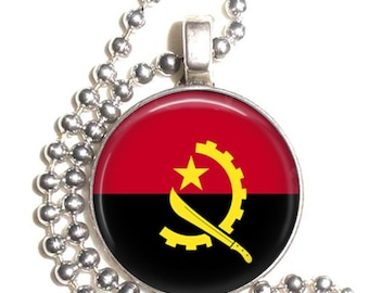 Angola Flag Altered Art Pendant, Earrings and/or Keychain, Round Photo Silver and Resin Charm Jewelry, Flag Earrings, Flag Key Fob