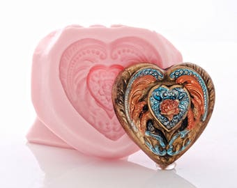 Heart Silicone Mold Flexible easy to use Food Safe For Fondant Chocolate Mints Jewelry Mold for Resin Polymer Clay Metal Clay Urethane (891)
