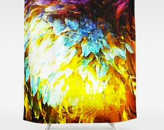 Shower Curtain Abstract Blue Winged Teal Duck Wing Multi Colored Bathroom Decor
