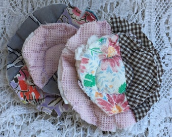 2 upcycled fabric flowers, cottage chic flower, gift top lot flower supplies, scrap flowers shabby upcycled quilt flower scrap appliques #28